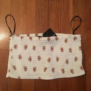 White cropped tube top with floral print
